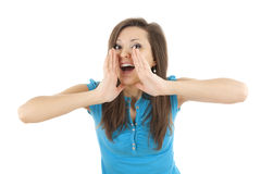 Screaming young woman Royalty Free Stock Photography