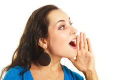 Screaming young woman Stock Image