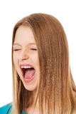 Screaming young woman Stock Photos