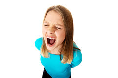 Screaming young woman Royalty Free Stock Photos