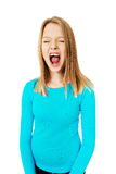 Screaming young woman Stock Photo