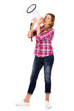 Screaming young woman holding megaphone Royalty Free Stock Photo