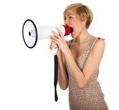 Screaming young woman with megaphone Stock Image