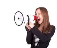 Screaming young woman with megaphone Royalty Free Stock Photos