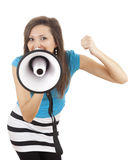 Screaming young woman with megaphone Stock Photos