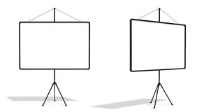 Screen. 3d render of blank black presentation screen  on white Stock Image