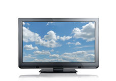 Screen. Close up view of nice black tv on white back Royalty Free Stock Photos