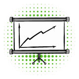 Screen arrow graph board comics icon. On a white background Royalty Free Stock Images