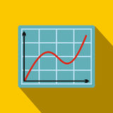 Screen arrow graph board flat icon. On a yellow background Royalty Free Stock Photo