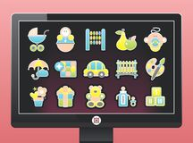 Screen with a beautiful baby icons. On a pink background Royalty Free Stock Photography