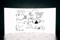 Screen with business sketch. Huge white screen with business sketch. Success concept. 3D Rendering Stock Photos