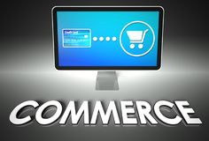 Screen and buying with word Commerce, E-commerce Royalty Free Stock Images