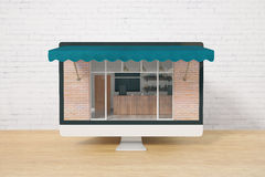 Screen with cafe exterior. Ordering food online concept with cafe exterior on computer screen placed on wooden desktop and brick wall background. 3D Rendering Royalty Free Stock Image