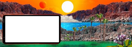 Screen of cell phone on background of fantastic landscape with sun, red moon, rocks, light house, mist and blue lagoon royalty free stock images