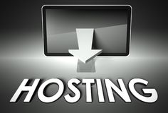 Screen and chart arrow with word Hosting, Network. Computer screen and chart arrow with word Hosting, Network concept Stock Image