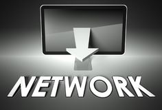 Screen and chart arrow with word Internet, Network Royalty Free Stock Photography