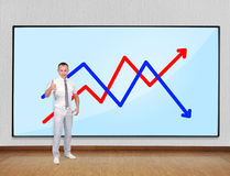 Screen with chart Stock Photography