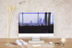 Screen with city reflection Royalty Free Stock Photo