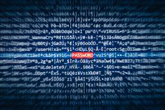 Screen with code where the word PASSWORD is highlighted Royalty Free Stock Photo