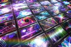 Screen collage showing disco images Royalty Free Stock Photo