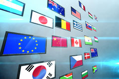 Screen collage showing international flags Stock Image