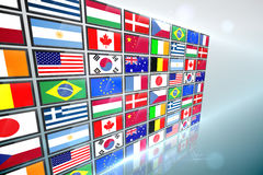Screen collage showing international flags Stock Photos