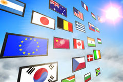Screen collage showing international flags Royalty Free Stock Image