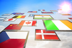 Screen collage showing international flags Stock Images