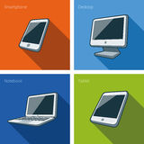 Screen computer devices illustration with smartphone, laptop, mo. Icon set of four computer devices in cartoon style consisting of smartphone, laptop, monitor Royalty Free Stock Photography