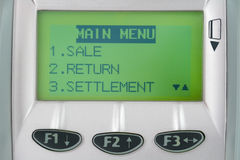 Screen of credit machine with buttons. Screen of the pos terminal. Close-up Royalty Free Stock Photos