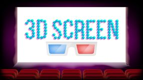 Screen 3D Movie Cinema Vector. Red Seats. Blank Premiere Poster Design. Illustration. Screen 3D Movie Cinema Vector. Red Seats. Blank Premiere Poster Stock Photos