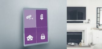 Composite image of screen of digital tablet. Screen of digital tablet against view of living room Stock Photography