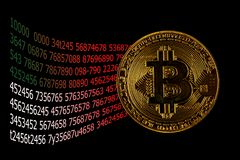Screen display of cryptocurrency mining Dual mining Gold Bitcoin cryptocurrency mining. By using the GPUs Stock Photo