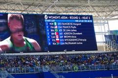 Screen displaying athletes names at Rio2016 Stock Photo