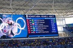 Screen displaying athletes names at Rio2016 Royalty Free Stock Photo