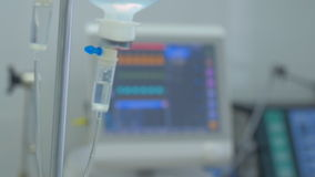 Screen displays patient`s condition in ICU, intensive care unit.