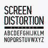 Screen distortion alphabet. Illustration on white Royalty Free Stock Photography