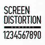 Screen distortion alphabet numbers Royalty Free Stock Photography