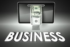 Screen and dollar bill, word Business, E-commerce Stock Image