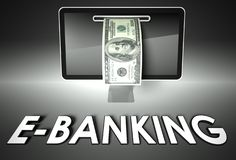Screen and dollar bill, word E-banking, E-commerce Stock Photography