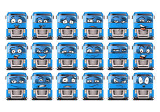 Screen expression on blue truck Royalty Free Stock Image