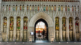Screen featuring Kings of England in Ripon Cathedral Royalty Free Stock Photos