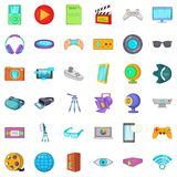 Screen film icons set, cartoon style. Screen film icons set. Cartoon style of 36 screen film vector icons for web isolated on white background Royalty Free Stock Images