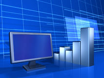 Screen and finance. Lcd screen and financial chart on blue background Royalty Free Stock Images