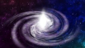 Screen Flying to Rotating Spiral Galaxy Space Floating Space Background. Deep space exploration. travel near big in star fields