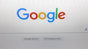 Screen on Google, the most popular search engine in the world. stock video footage