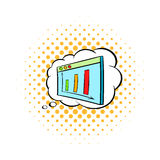Screen with graph in speech cloud icon Stock Photos