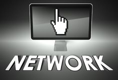 Screen and hand icon with Network, Internet Royalty Free Stock Image