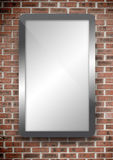 Screen hung on a brick wall. Screen hung on a redbrick wall Royalty Free Stock Images