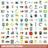 100 screen icons set, flat style. 100 screen icons set in flat style for any design vector illustration Royalty Free Stock Image